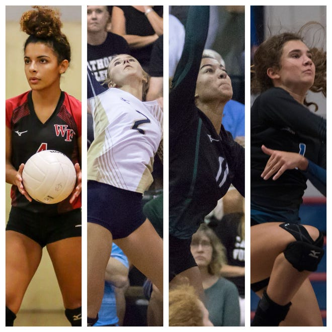 Left to right: West Florida's Autumn Carter, Gulf Breeze's Carlee Amberson, Catholic's Amiah Butler and Washington's Merrill Dickerson are the PNJ Volleyball Player of the Week nominees. (Oct. 15, 2018)