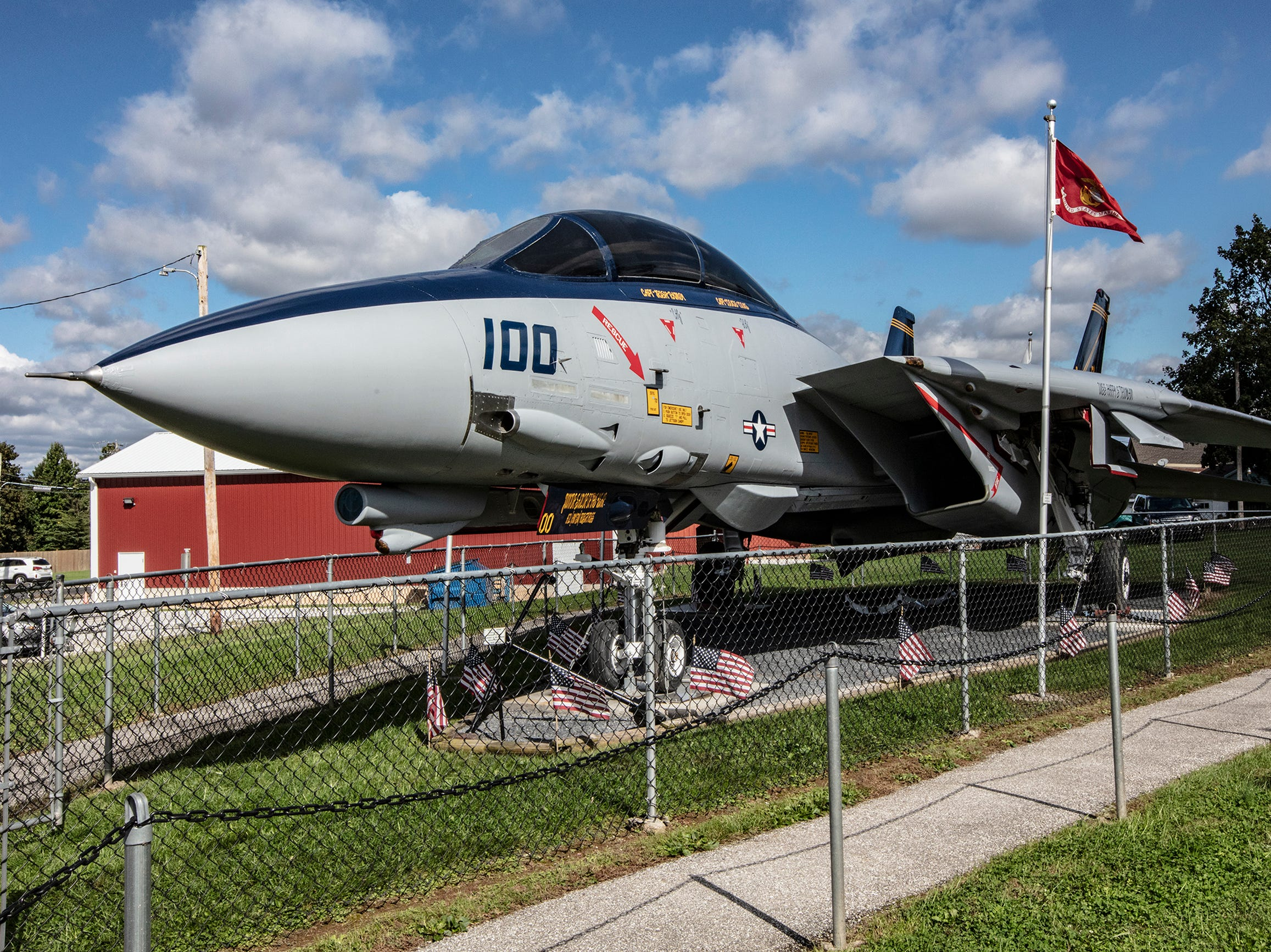 The newly restored F-14 Tomcat fighter jet at the East Berlin VFW.