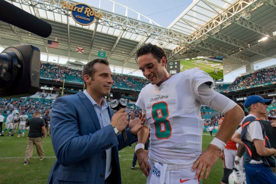 Miami Dolphins quarterback Brock Osweiler (8) is interviewed after the game between the Chicago Bears and Miami Dolphins at Hard Rock Stadium