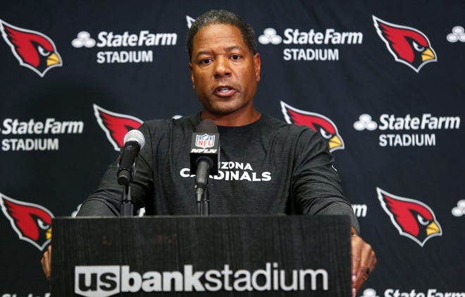 Arizona Cardinals head coach Steve Wilks answers questions after the game against the Minnesota Vikings on Sunday, Oct. 14, 2018, in Minneapolis. The Vikings won 27-17.