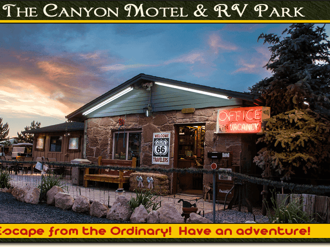 The Canyon Motel features standard rooms as well as accommodations in a caboose and railway car.
