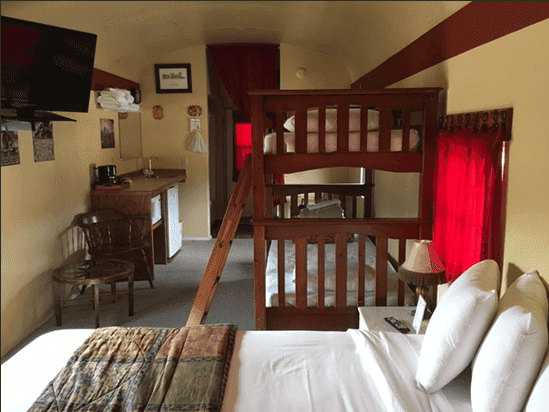 The railway-car suite at Canyon Motel is a perfect fit for a family or four.