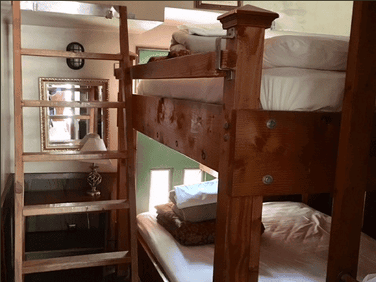 The bunk beds in the caboose at Canyon Motel can sleep two comfortably.