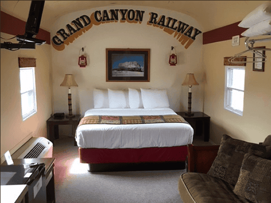 At the Canyon Motel in Williams, you can  stay in a railway car, updated with cable TV and wi-fi.