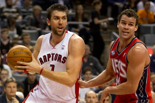 Andrea Bargnani scored just two points in his rookie debut with the Toronto Raptors.