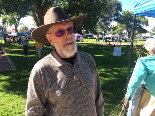 Joe Voutour, 77, of discusses his dislike of U.S. Sen. Jeff Flake in Pioneer Park  in Snowflake, Ariz., on Saturday, Oct. 13. Sen. Flake has apparently lost favorite son status in his hometown.