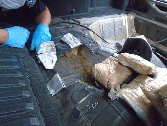 Hard drugs valued at more than $1 million were seized Friday morning near the border,