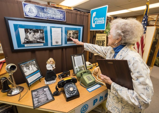 Joan Bulley says the telephone exhibit at the Algonac Clay Historical Museum is popular among kids. Bulley says they like the hands-on aspect.