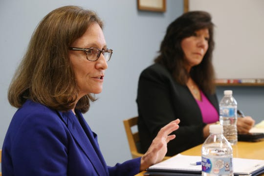 From left, Democratic candidate Karen Smythe and State Senator Sue Serino, R-Hyde Park at the Poughkeepsie Journal  on October 12, 2018.