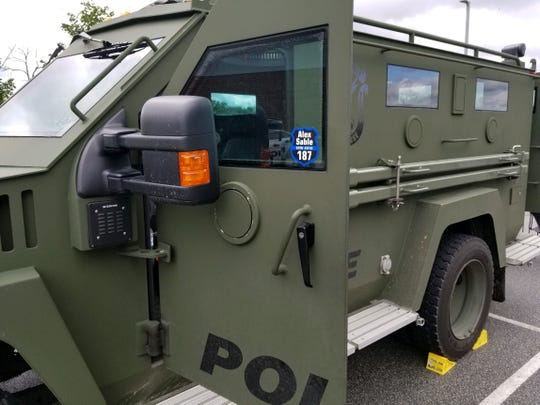 The York County Quick Response Team brought along their military-style vehicle to the 911 Center open house Saturday, Oct 13, displaying a sticker in memorial of fallen York City Police Officer Alex Sable.