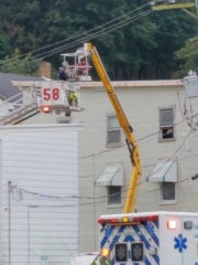 A man painting a Glen Rock apartment building on Oct. 14, 2018, was shocked when he touched a high-tension line, according to Glen Rock Fire Chief Ron McCullough. The man was flown to a Baltimore burn center after being rescued, the chief said.