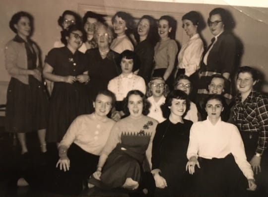 Annemarie Eggstein Baker with other Residence Girls at the York YWCA in the early 1950s.  She is far right in the front row wearing the white blouse.