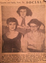 This September 30, 1953 York Gazette and Daily clipping shows Annemarie (center) after her election as secretary-treasurer of the YWCA Residence Club.