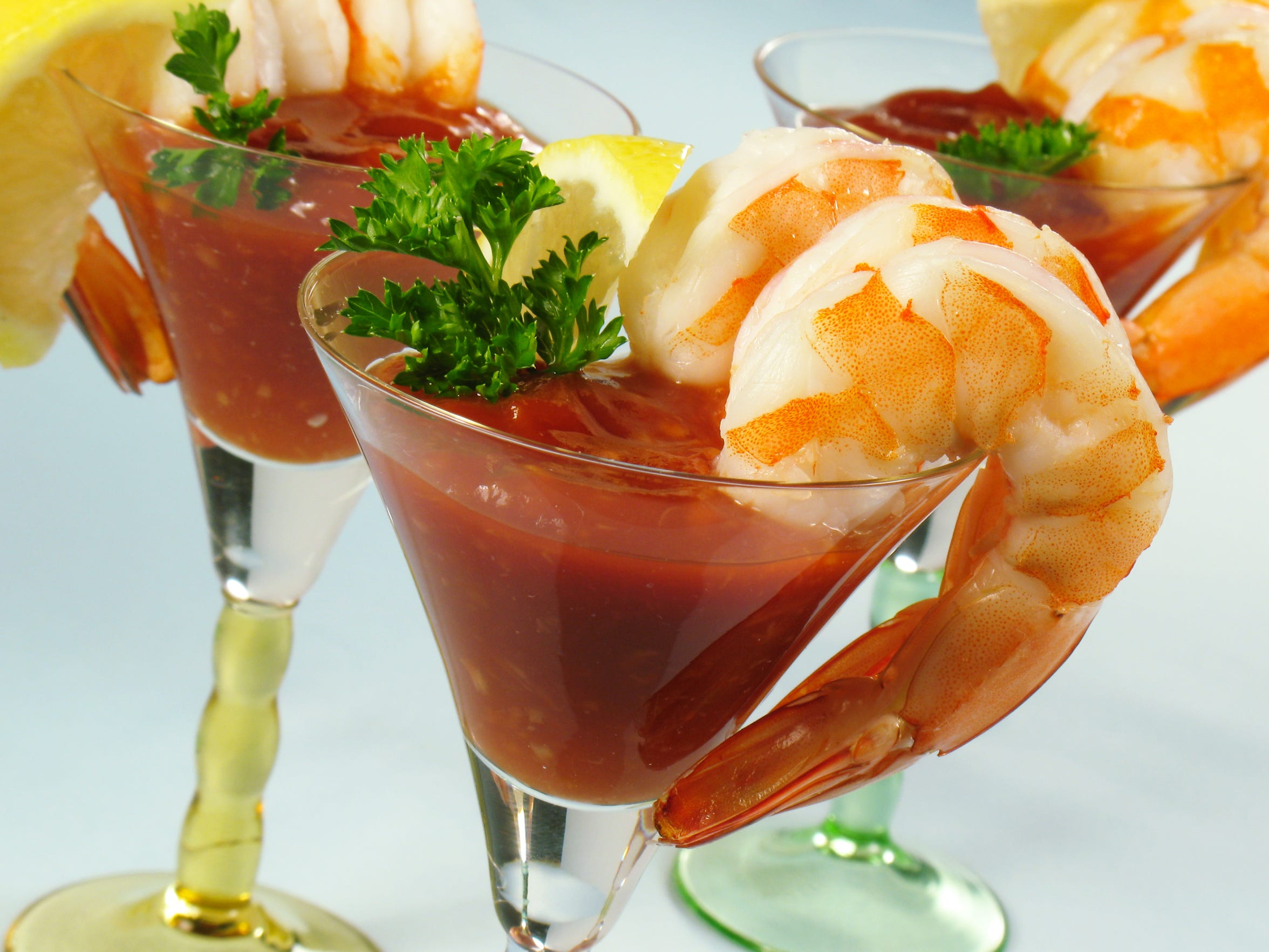 Shrimp cocktail, a classic 1960s dish, begins the 60s-inspired VIP dinner at the 2018 Fantasies in Chocolate charity gala running Nov. 17 at Grand Sierra casino.