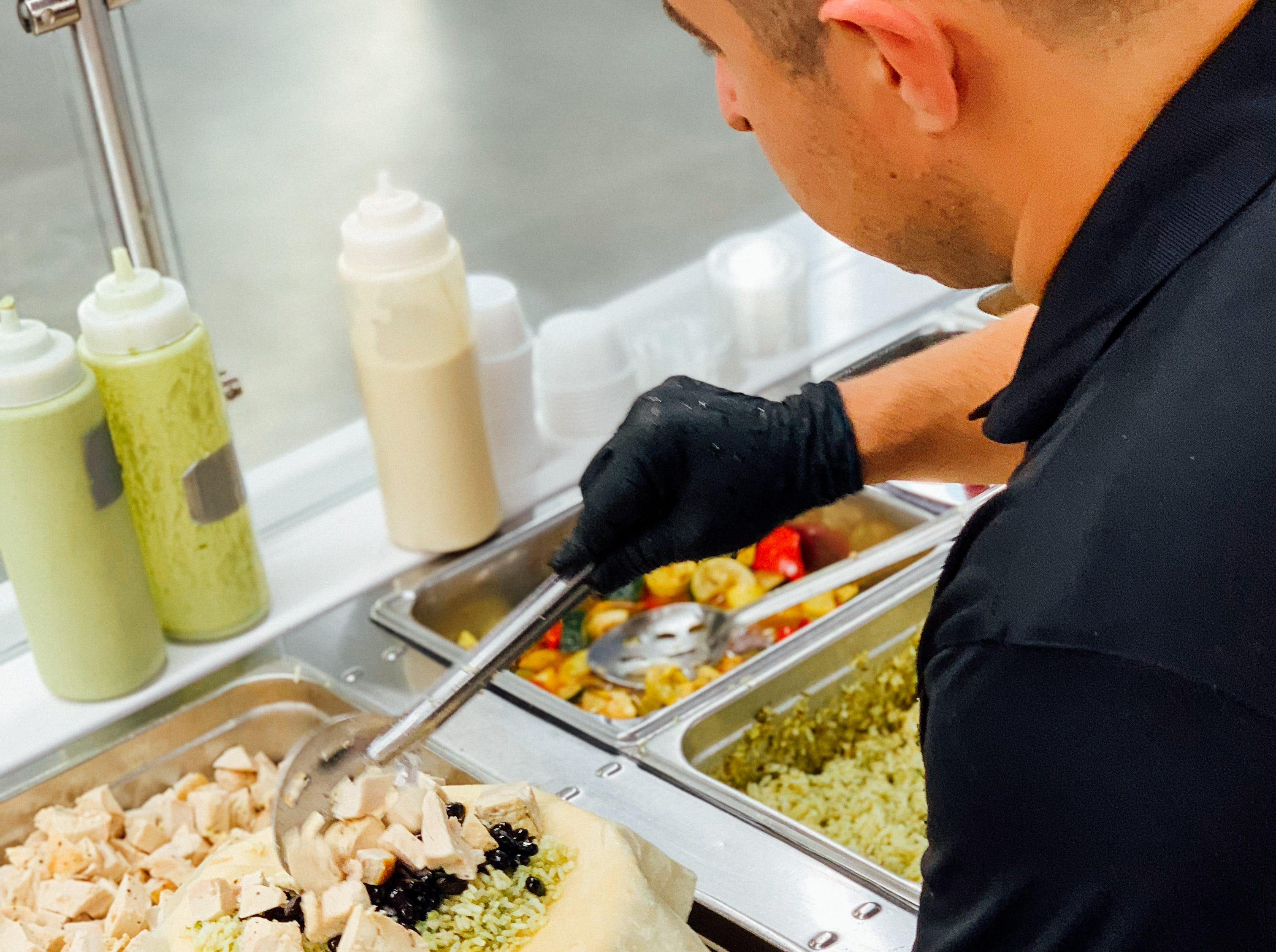 Roundabout Catering offers breakfast, soups, salads, sandwiches, burritos (here, a chicken and black bean version), and grab-and-go items in the main cafeteria of the Tesla Gigafactory east of Reno.