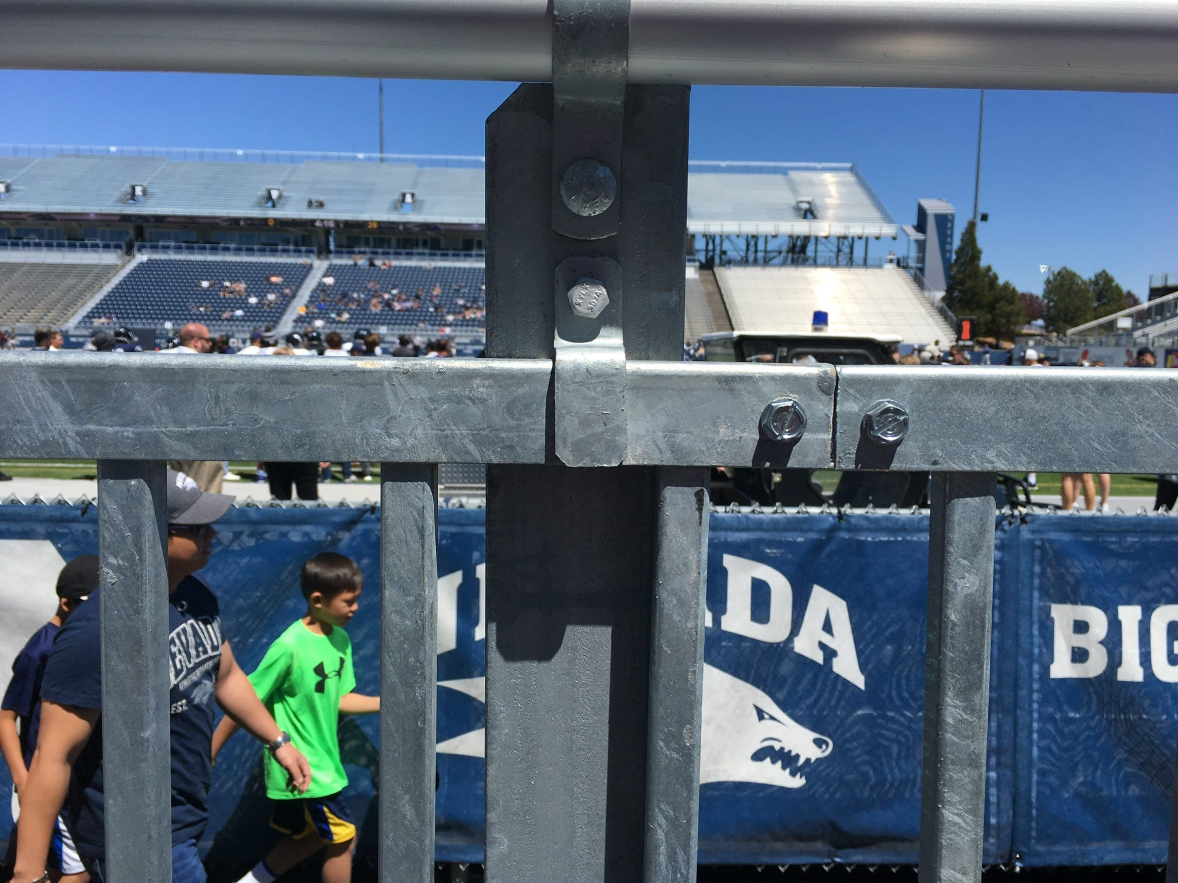 The view from a wheelchair after the University of Nevada, Reno first remodeled Mackay Stadium.