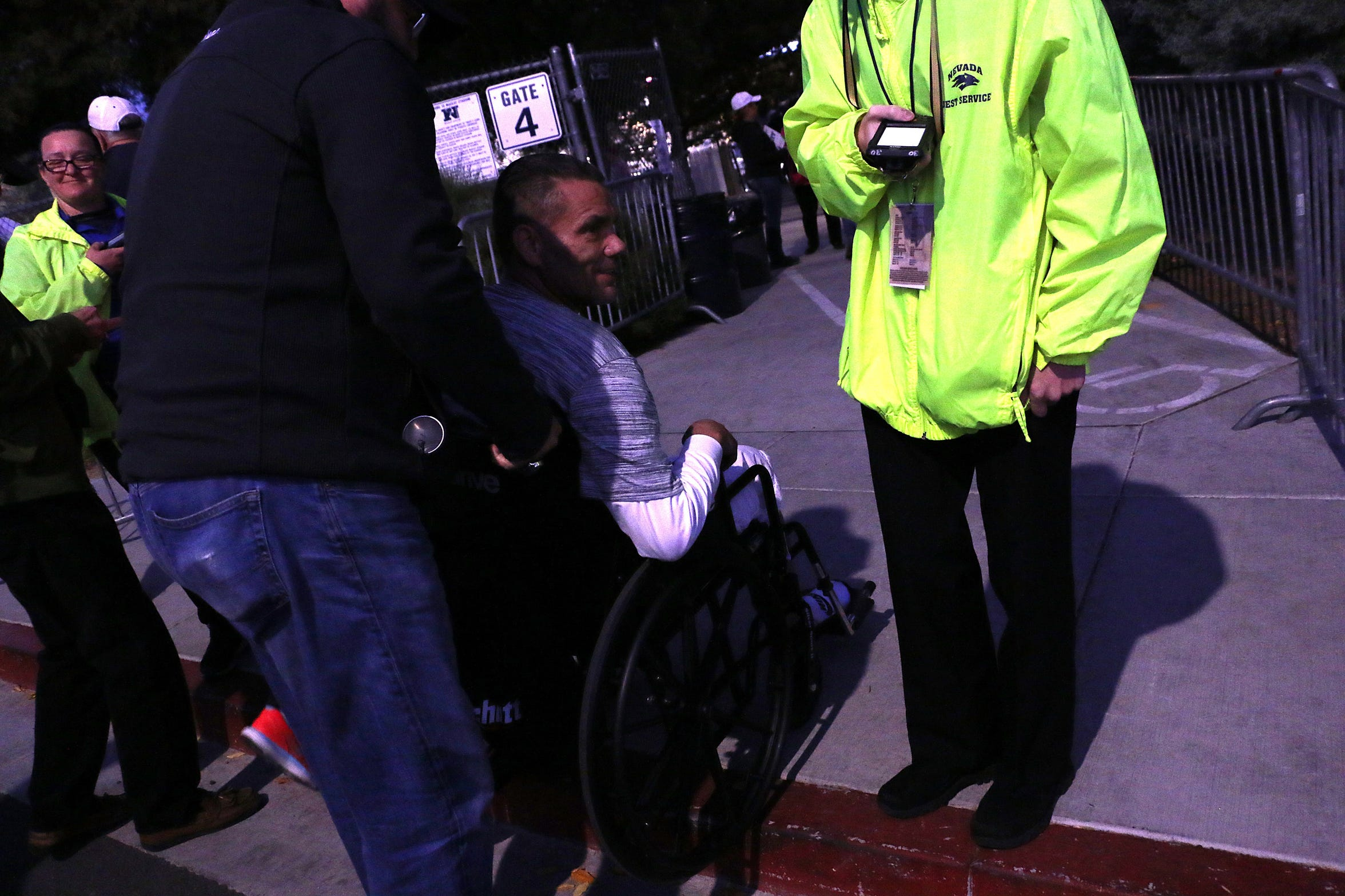 Former Nevada Wolf Pack player Ross Ortega wheelchair tries to access Mackay Stadium in Reno on Oct. 13, 2018.