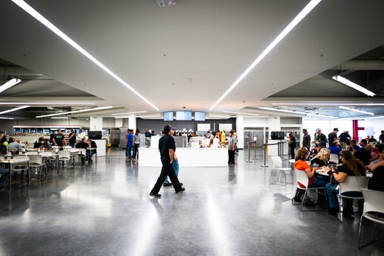 The main cafeteria-slash-food hall at the Tesla Gigafactory east of Reno stretches to about 19,000 square feet and serves about 700 meals a day.