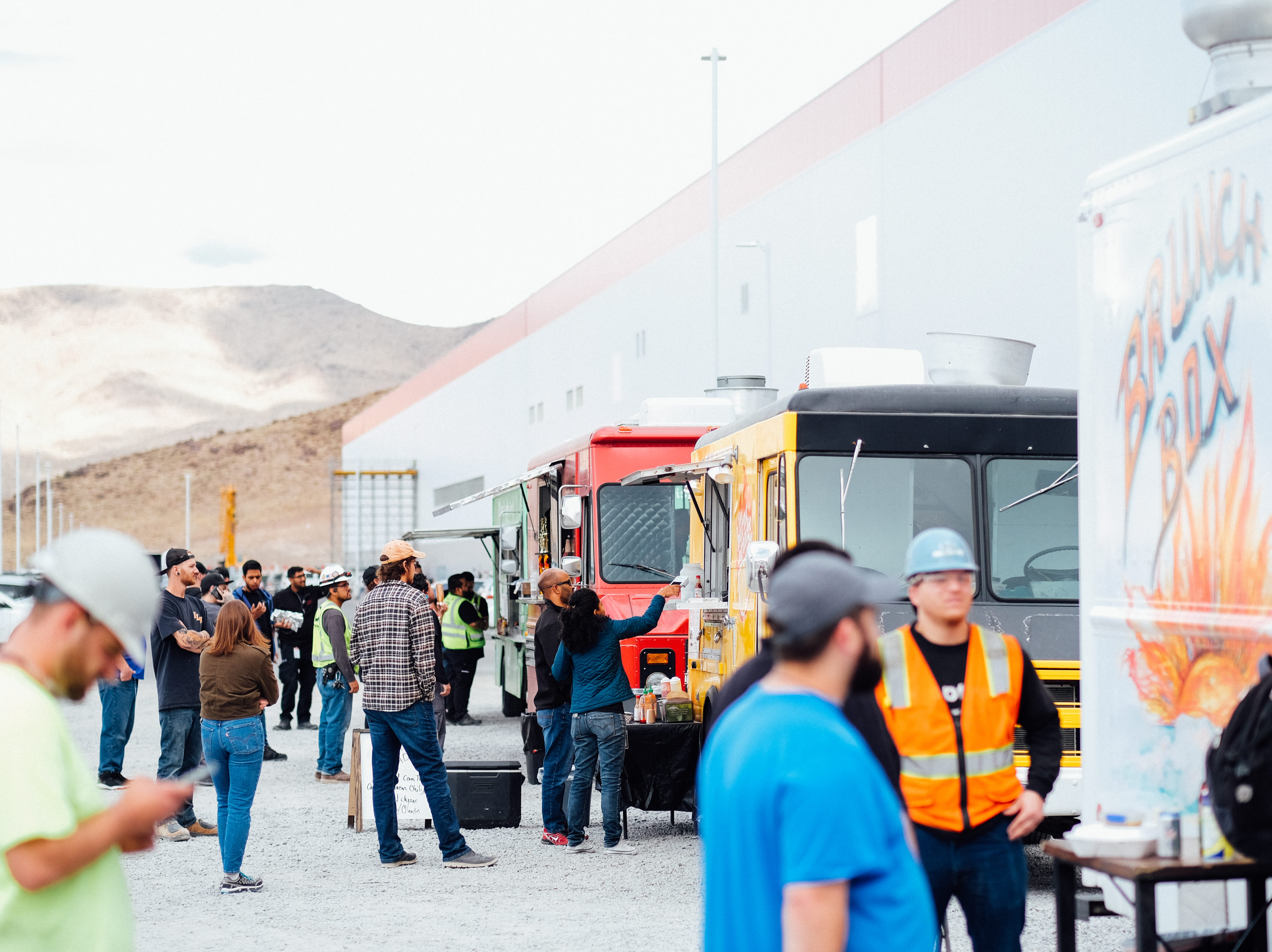 About 20 food trucks rotate regularly at the Tesla Gigafactory east of Reno, helping to feed many of the 7,000-plus employees.