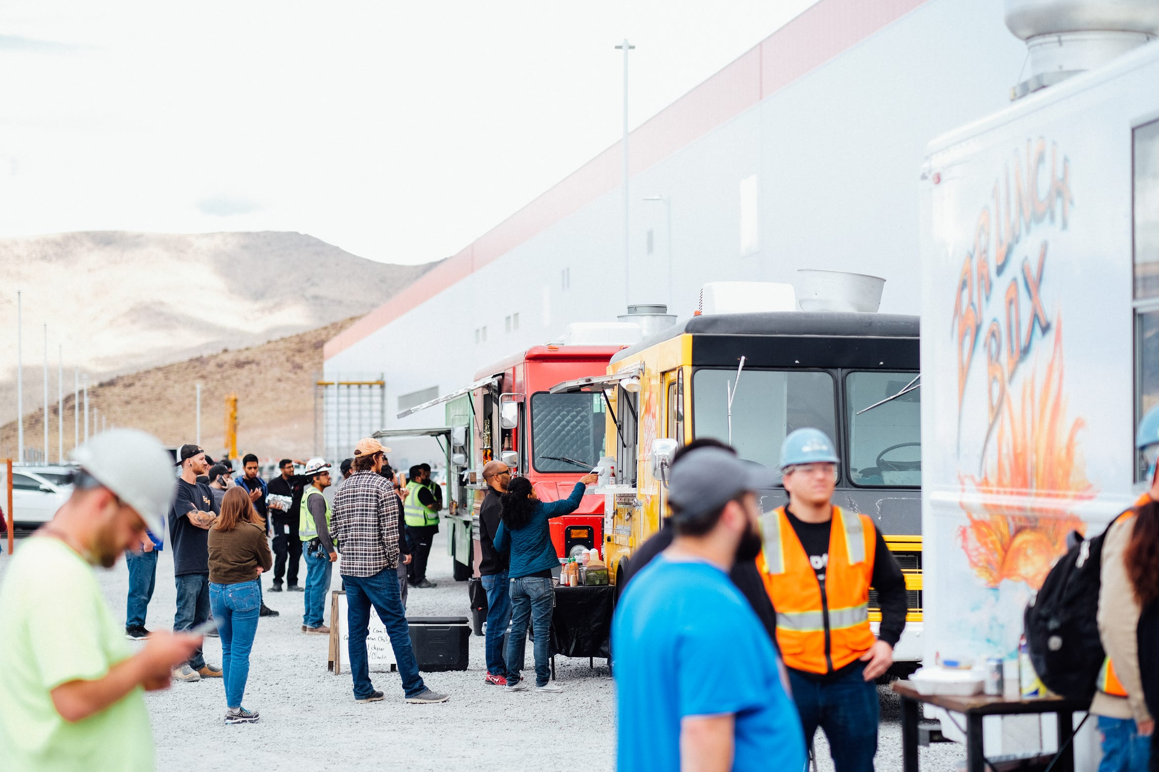About 20 food trucks rotate regularly at the Tesla Gigafactory east of Reno, helping to feed many of the 3,000-plus employees.