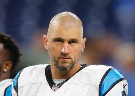 Derek Anderson, shown before the Carolina Panthers played in Detroit on Oct. 8, 2017, was signed by the Buffalo Bills to provide mentorship for Josh Allen.