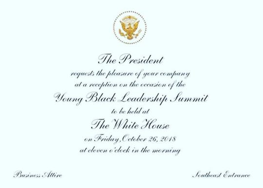 David Harris Jr. of Redding posted on Facebook a photo of his invitation to a White House lunch with President Trump.