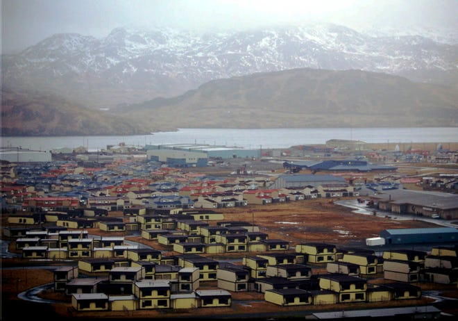 Hundreds of houses, which over 6,000 military personnel and dependents called home, along with schools, warehouses, hangars, and other structures sit empty on the Adak Naval Air Facility in Alaska.