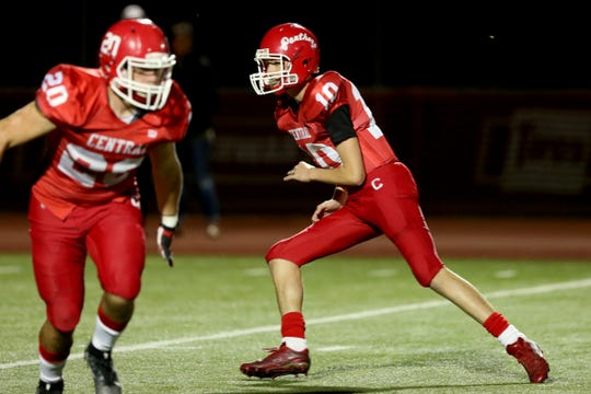 Central's Brooks Ferguson (10) competes in the first half of the North Salem vs. Central football game at Central High School in Independence on Friday, Oct. 12, 2018.