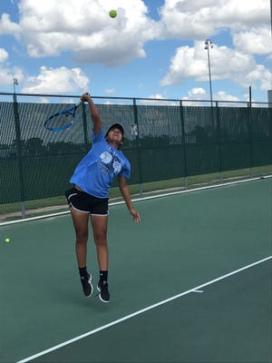 Lake View sophomore Alaysia Capuchina serves the ball during practice recently. Lake View plays Wichita Falls Hirschi in a bidistrict team tennis match Tuesday, Oct. 16, 2018, in Lubbock.