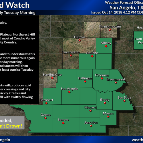 Stay safe: Flash flood watch in effect for San Angelo, much of Concho Valley