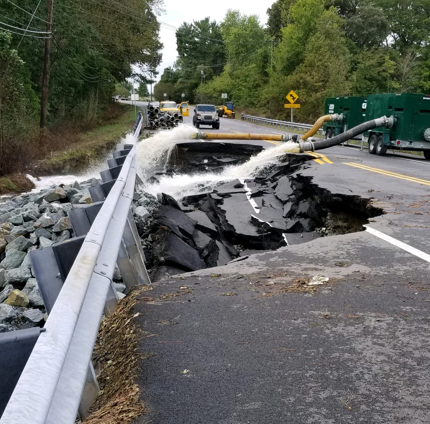 This section of Nanticoke Road at Riawalkin Pond was washed out during heavy rain from Tropical Storm Michael.