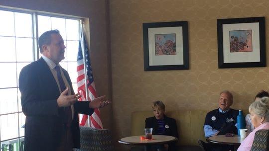 Corey Stewart, Republican candidate for U. S. Senate, speaks on Chincoteague, Virginia on Saturday, Oct. 13, 2018.