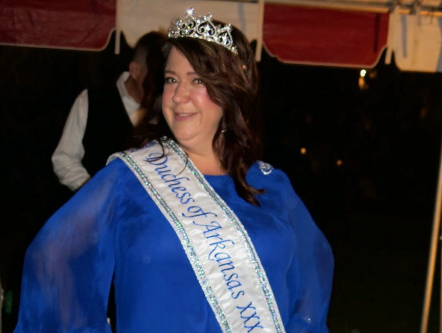 Krewe of Gemini Duchess of Arkansas Rebecca Jackson at Krewe of Highland Coronation.