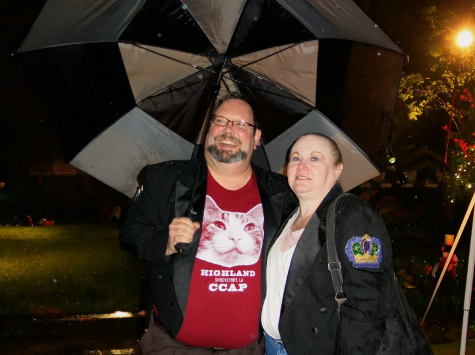 When the rain started coming down, David Duggar and Marsha Patterson were prepared.