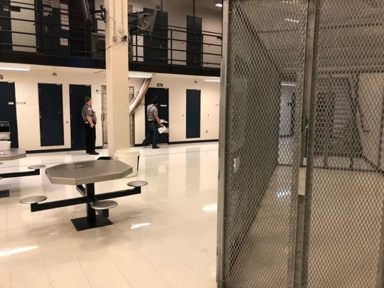 A Block is the highest security unit within the South Dakota Women's Prison. Inmates may be allowed out of their individual cells, but sometimes can only go into a small fenced area for added security.