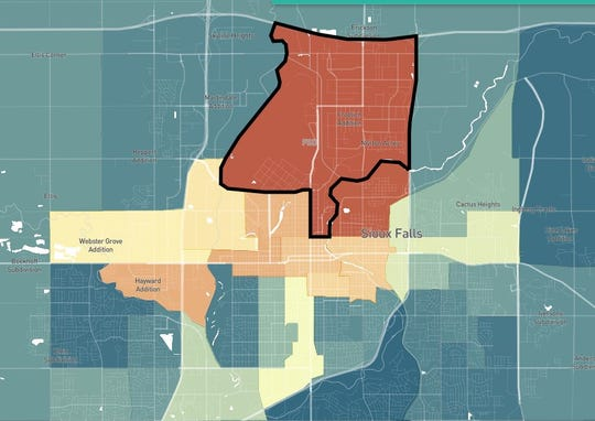 A screen capture of the Opportunity Atlas, zoomed in on Sioux Falls. The data tool is the work of Opportunity Insights, and the map shows individual income outcomes for people born between 1978 and 1983.