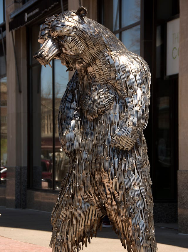 The votes are in: Bear piece made of forks, knives earns