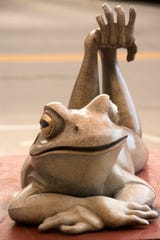 Pokey Park of Tucson, Arizona, was selected by her artist peers as a Virtuoso artist for her 2018 SculptureWalk piece Red Legged Frog.