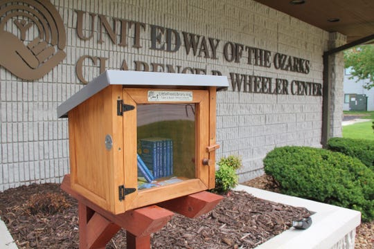 This Little Free Library can be found outside the United Way of the Ozarks' office.