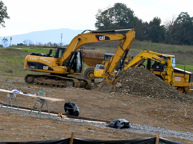 Construction equipment parked and ready as new development takes place at Myers Corner in Fishersville.