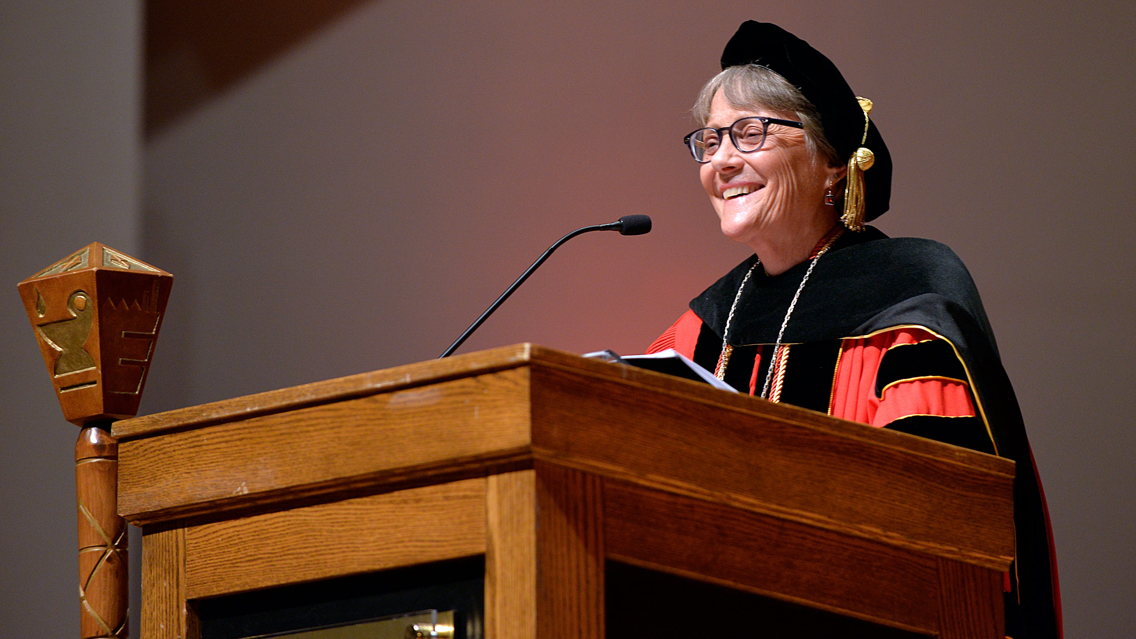 President Robbyn Wacker addresses the crowd during her inauguration ceremony at St. Cloud State University Monday.