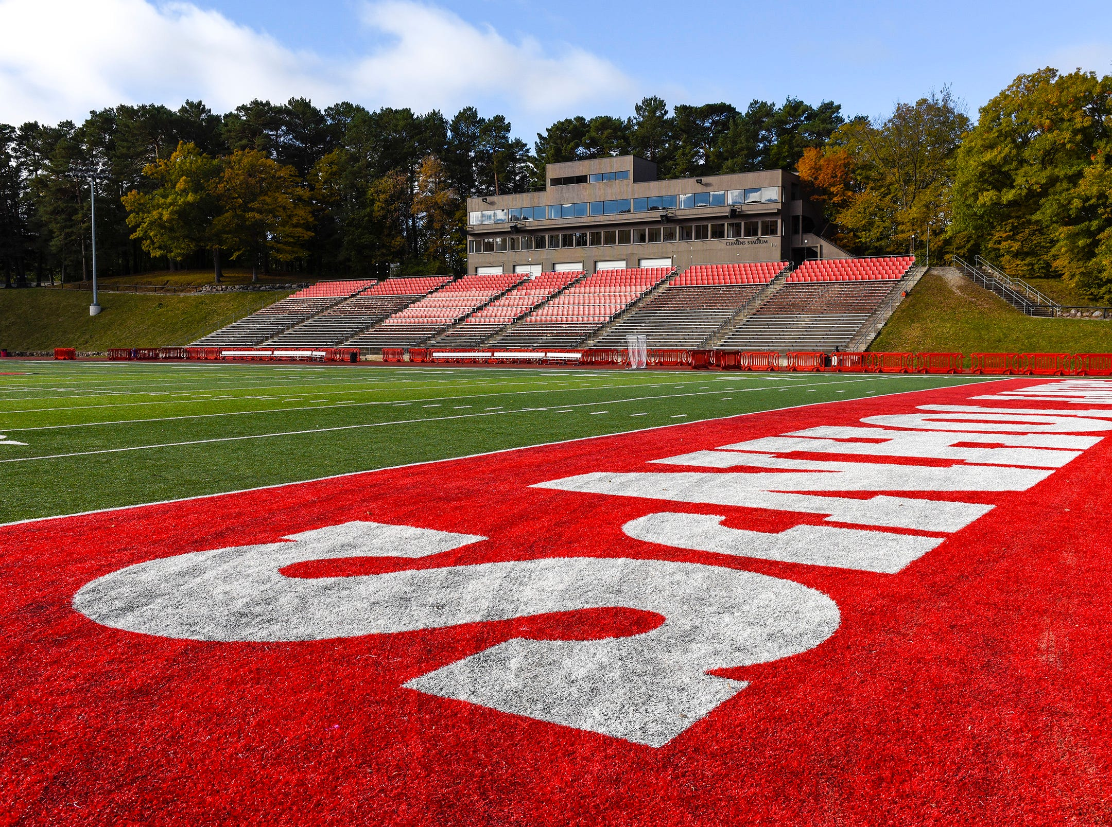 Clemens Field was quiet and empty during the funeral of of legendary football coach John Gagliardi Monday, Oct. 15, at the St. John's Abbey in Collegeville.