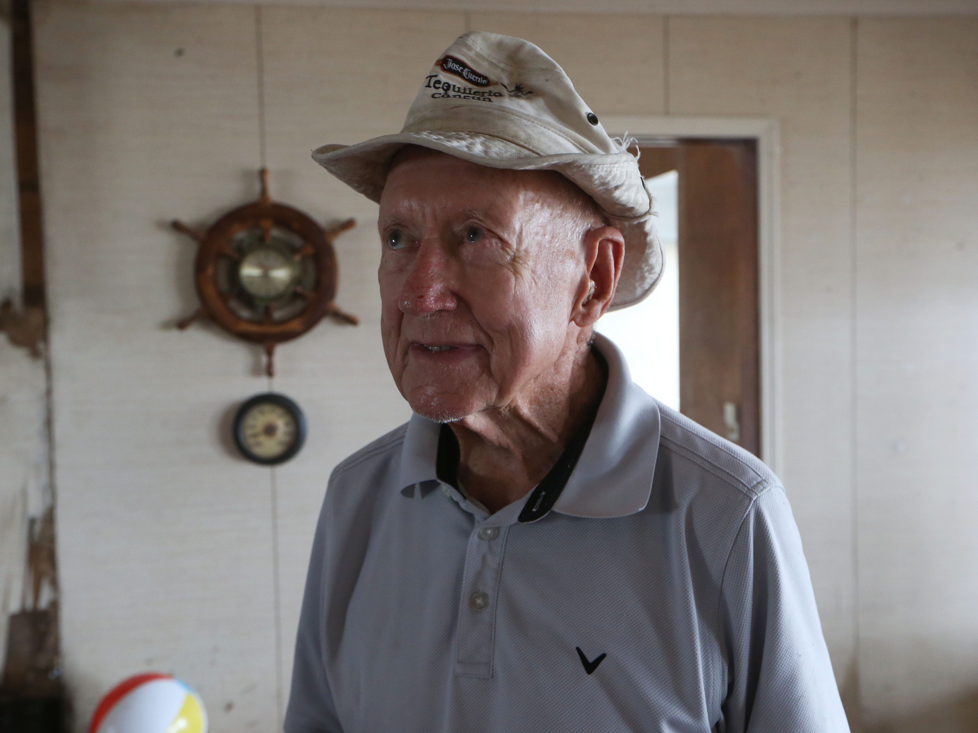 Wilson Wright speaks about what he is experiencing in the aftermath of Hurricane Michael in Carrabelle Beach on Monday, Oct. 15, 2018.
