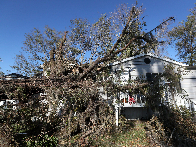 Hurricane Michael damage in Chattahoochee, Fla. Monday, Oct. 15, 2018.