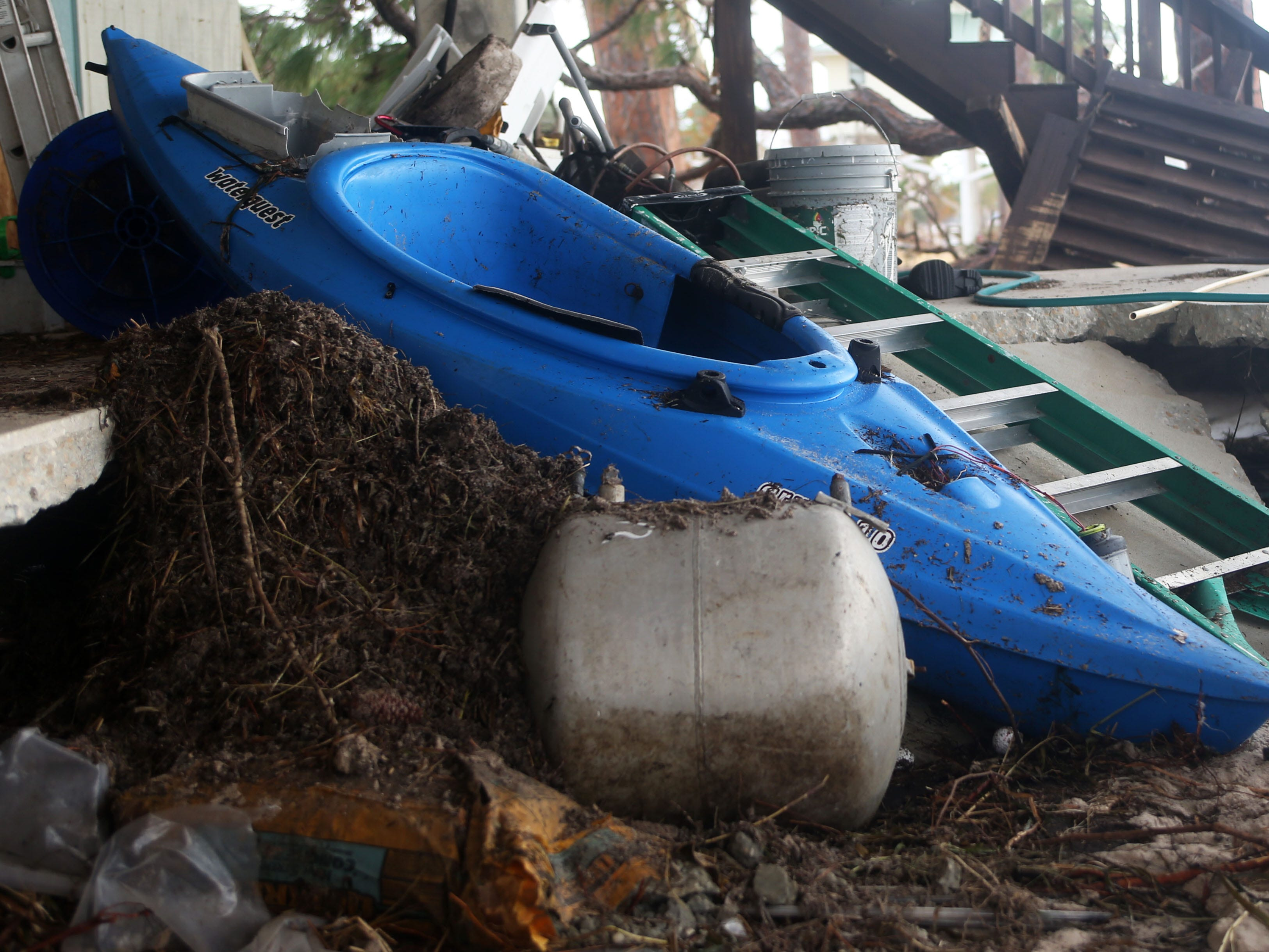 Belongings displaced by Hurricane Michael at Lewis and Celeda Christie's home in Lanark, Fla. on Monday, Oct. 15, 2018.