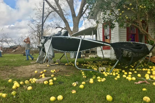 Hurricane Michael knocked grapefruit off a tree in Altha. The hurricane damaged the house and destroyed a carport and barn.