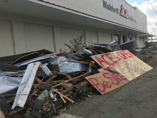 The Waldorff Ace Hardware Store in Altha was damaged but open on Monday.