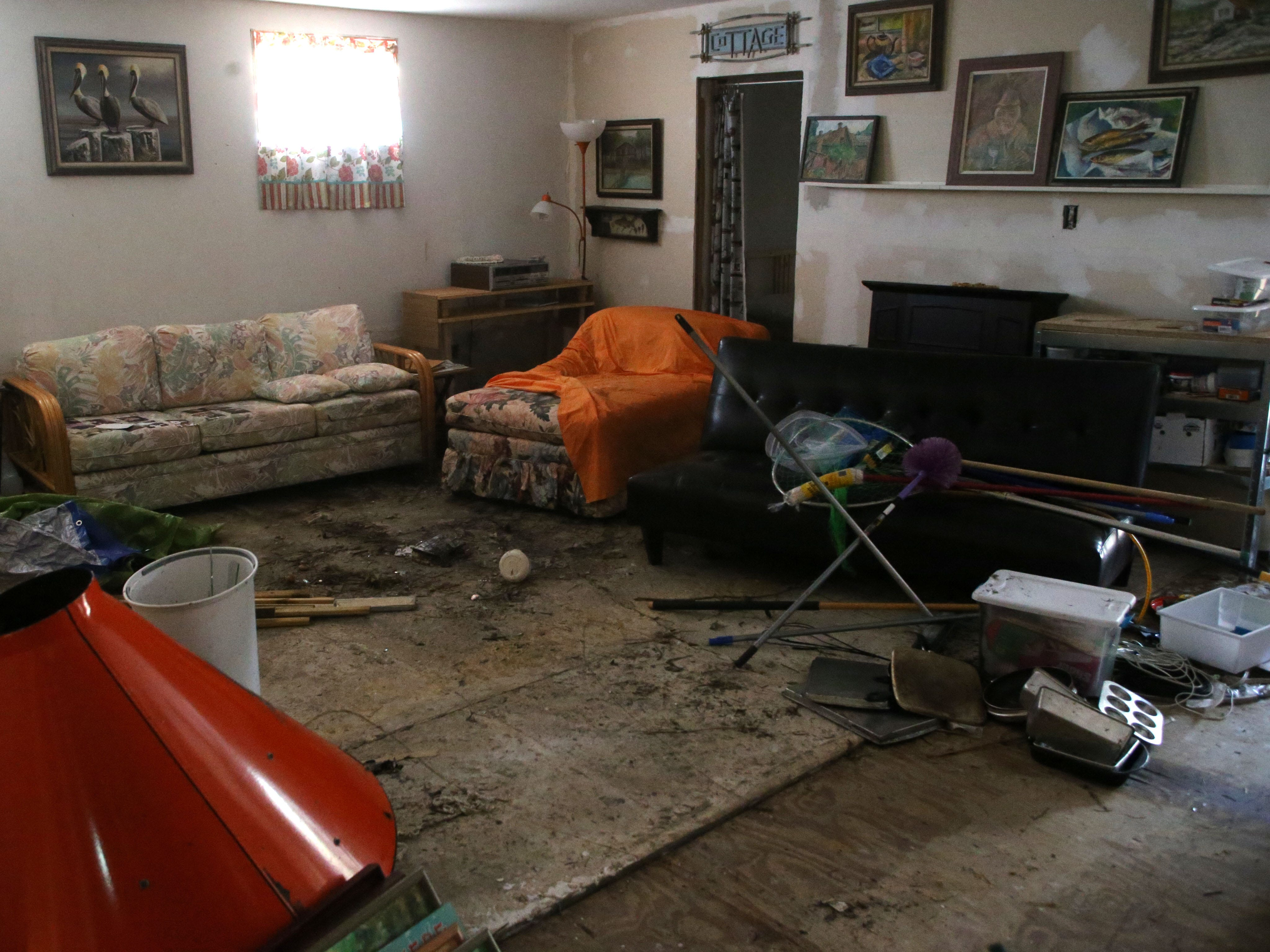 Inside Mollergren's home, where water reached the ceiling during Hurricane Michael on Monday, Oct. 15, 2018.