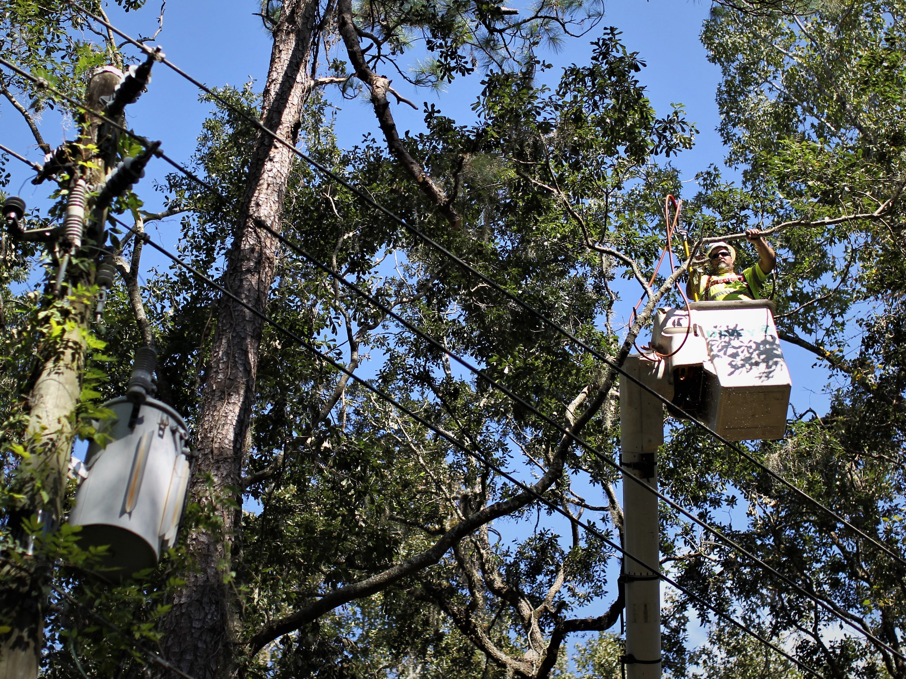 Recovery in Tallahassee on Lakeshore Drive following damage from Hurricane Michael.