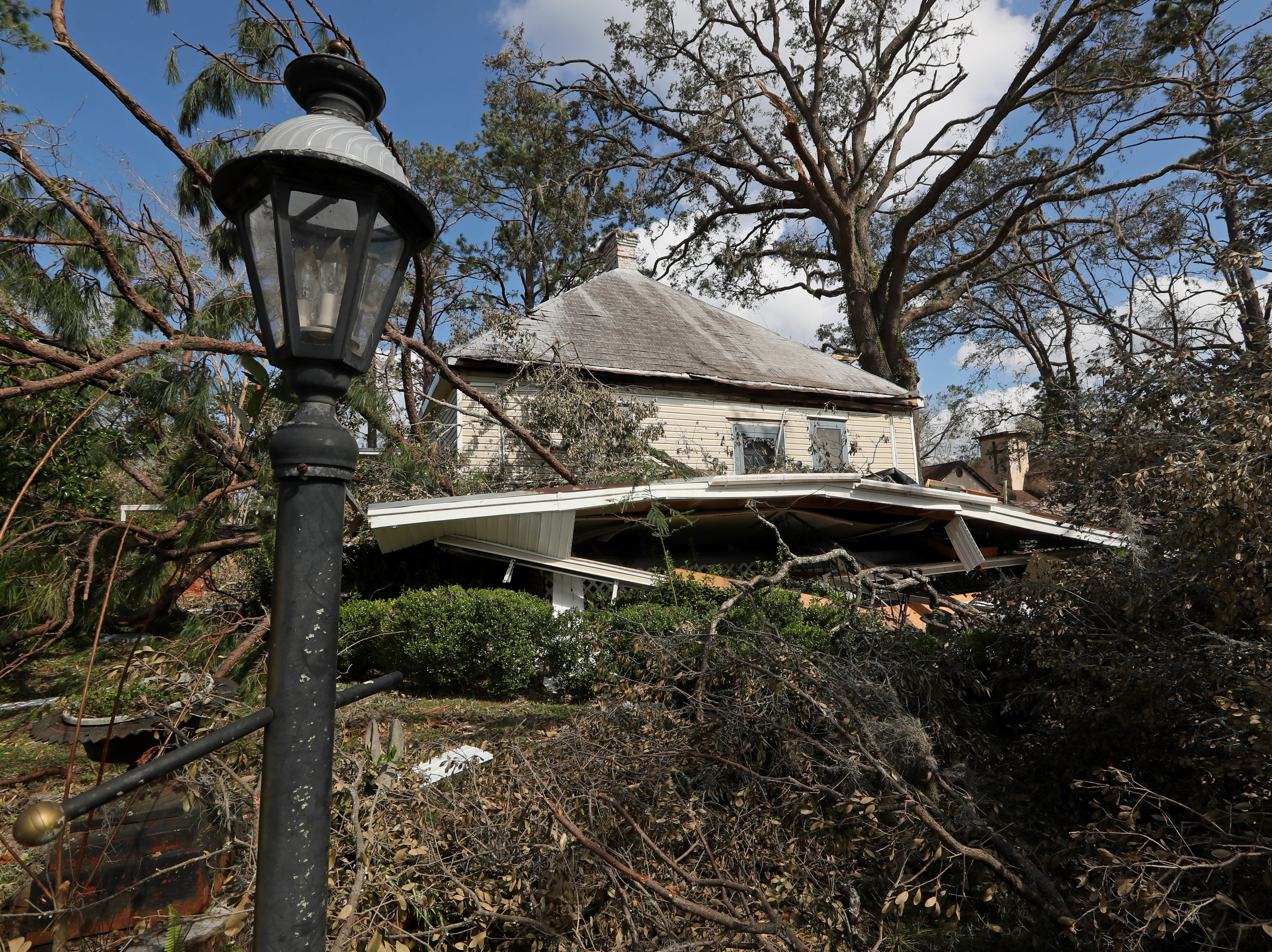 Billy Bassett King's Chattahoochee home where Hurricane Michael caused structural damage to the front of the house, crushing the front porch.
